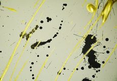 Pintura elegante del negro del oro de la acuarela, puntos, fondo elegante Fotografía de archivo