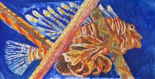 Pintura en el papel de la vida subacuática del ` s foto de archivo