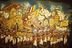 Pintura en el templo de oro de Dambulla, Sri Lanka Imágenes de archivo libres de regalías