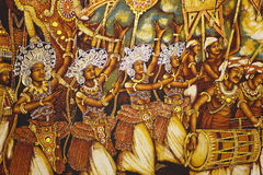 Pintura en el templo de oro de Dambulla, Sri Lanka Foto de archivo