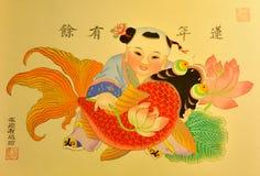 Pintura en estilo tradicional chino Fotos de archivo libres de regalías