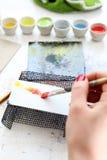 Pintura en la placa de cerámica Fotografía de archivo