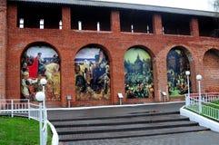 Pintura en las paredes del Kremlin antiguo Imagen de archivo