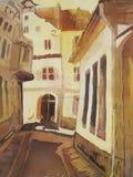 Pintura européia do sumário da rua da cidade. Fotos de Stock Royalty Free