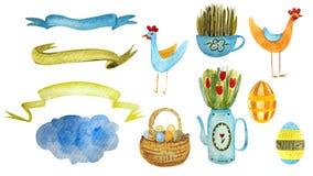 Pintura exhausta de la acuarela de la mano de Pascua feliz stock de ilustración