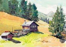 Pintura exhausta de la mano de la acuarela de la cabaña imagen de archivo