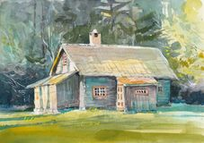 Pintura exhausta de la mano de la acuarela de la cabaña foto de archivo libre de regalías