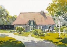 Pintura exhausta de la mano de la acuarela de la cabaña fotos de archivo