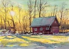 Pintura exhausta de la mano de la acuarela de la cabaña foto de archivo