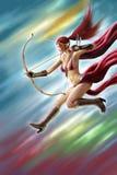 Pintura fêmea de Digitas do ataque do guerreiro do duende Foto de Stock