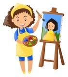 Pintura fêmea do pintor na lona Fotos de Stock Royalty Free
