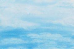 Pintura feito à mão da aquarela do céu nebuloso Imagens de Stock