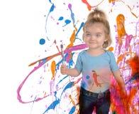 Pintura feliz da criança da arte no branco fotografia de stock