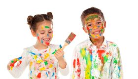Pintura feliz de los niños Fotos de archivo