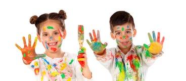 Pintura feliz de los niños Foto de archivo