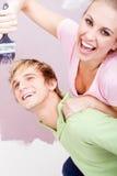 Pintura feliz dos pares Fotos de Stock Royalty Free