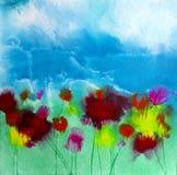 Pintura floral dos wildflowers quadrados acrílicos do sumário ilustração do vetor