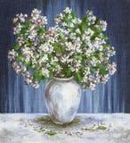 A pintura floresce o jasmim em um vaso Fotografia de Stock Royalty Free