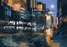 Pintura futurista de la ciudad Fotos de archivo libres de regalías