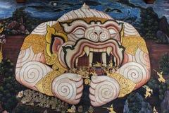 Pintura grande del ramayana del mono en pared del prakaew del wat Fotografía de archivo