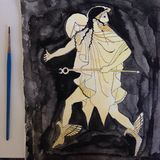Pintura griega de la acuarela Imagenes de archivo