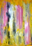 Pintura gris y amarilla del arte abstracto Foto de archivo