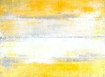 Pintura gris y amarilla del arte abstracto Foto de archivo libre de regalías