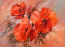 Pintura hecha a mano de las amapolas Imagen de archivo libre de regalías