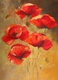 Pintura hecha a mano de las amapolas Fotos de archivo