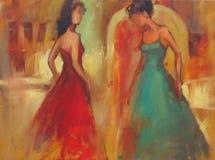 Pintura hecha a mano de las figuras femeninas Fotografía de archivo