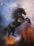 Pintura hermosa de un baile negro del unicornio en espacio Foto de archivo