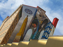 Pintura ilusoria en una pared de la casa Fotos de archivo libres de regalías