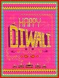 Pintura india colorida del camión en la tarjeta feliz de Diwali para el festival de la luz de la India