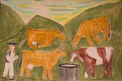 Pintura ingênua da vida da vila ilustração stock