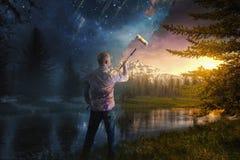 Pintura lejos de la noche imagen de archivo