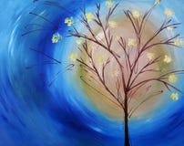 Pintura a óleo da árvore de encontro ao céu azul Foto de Stock Royalty Free