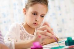 Pintura linda de la niña Imagenes de archivo