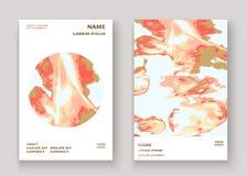 Pintura lujosa de mármol de la textura del oro coralino artística, casandose diseño de la invitación Líquido de oro rosado decora ilustración del vector