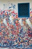 Pintura marroquina do graffiti/em torno de uma janela Fotos de Stock Royalty Free