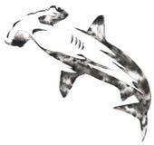 A pintura monocromática preto e branco com água e a tinta tiram a ilustração do hammerhead ilustração royalty free