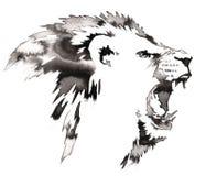 A pintura monocromática preto e branco com água e a tinta tiram a ilustração do leão ilustração do vetor