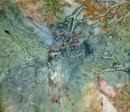 Pintura monotypy del petróleo verde, amarillo y rosado Fotografía de archivo