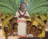 Pintura mural étnica dos povos de South Pacific imagens de stock
