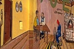 Pintura mural agrícola exterior da parede do museu Imagens de Stock