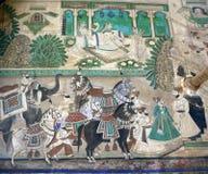 Pintura mural antiga da parede imagens de stock