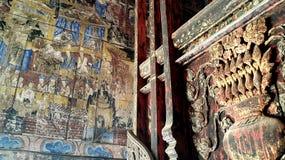 Pintura mural antiga em Lampang, Tailândia Fotografia de Stock Royalty Free