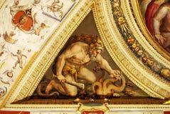 Pintura mural antiga, a imagem de Hercules que mata a serpente três-dirigida Foto de Stock Royalty Free