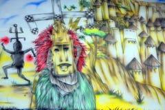 Pintura mural asteca do deus imagem de stock