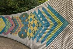 Pintura mural cerâmica moderna colorida da parede em Tokoname fotografia de stock
