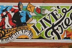 Pintura mural da arte da parede no lado da construção em Abilene, Texas imagem de stock